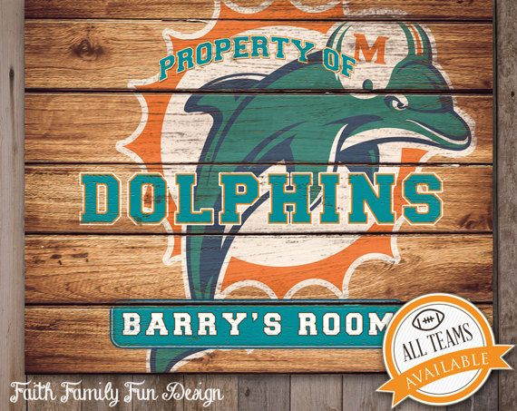 Nfl Miami Dolphins Team Sign Printable Personalized Man