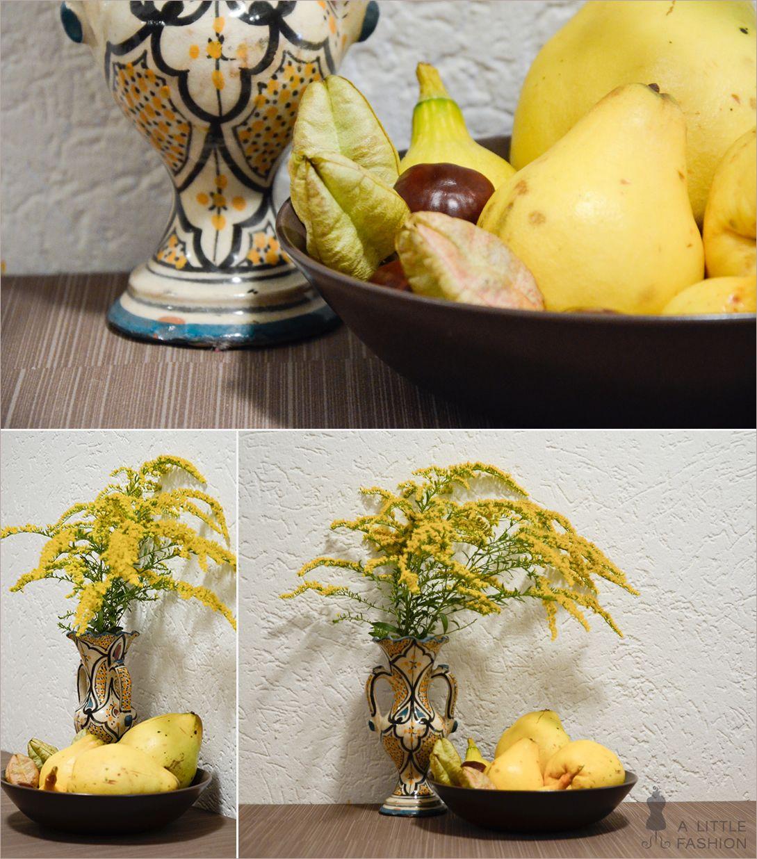 Herbst-Dekoration auf vollen Touren… Tonvase (Flohmarktfund), Schale (IKEA), Blumen, Quitten, Kastanien, Nüsse & Co. #wohnen #einrichtung #ideen #deko #möbel #schlafzimmer #inspiration #wohnzimmer #living #room #kitchen #filizity