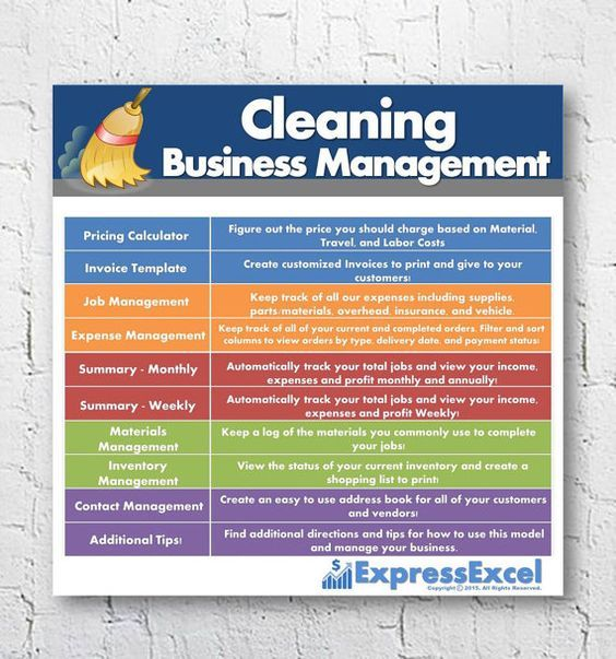 Home or Commercial Cleaning Business Management Excel Spreadsheet - monthly business expenses template