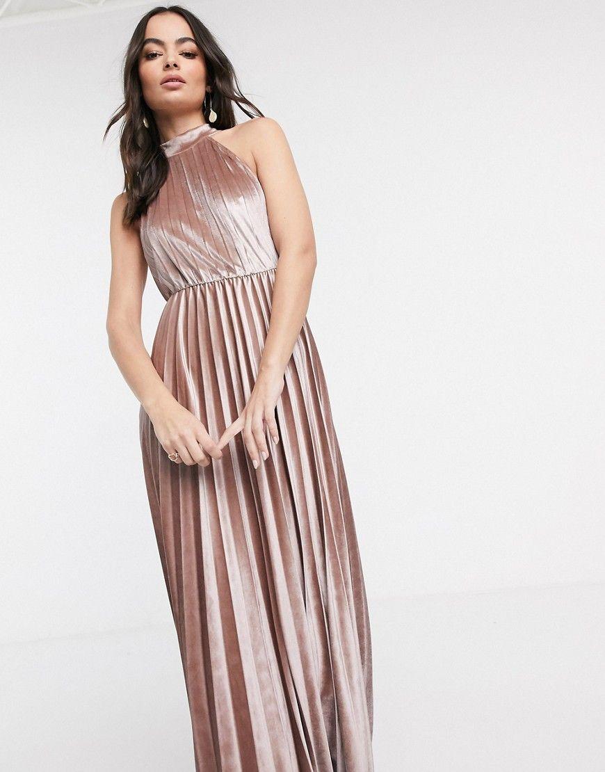 ASOS Halter pleated waisted maxi dress in velvet-Beige