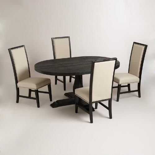 Reduced Price Round To Oval Black Greyson Extension Table World