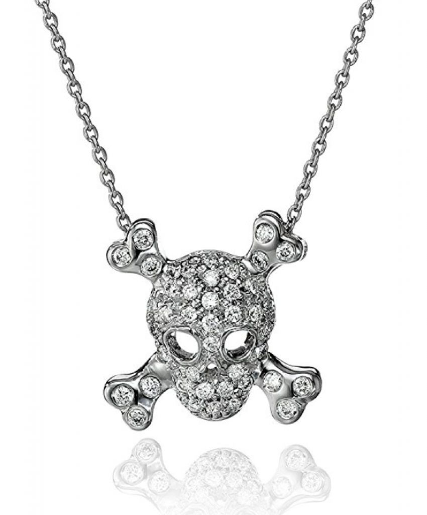 18k White Gold Skull And Crossbones Pendant Necklace Gold Skull Pendant Necklace Necklace