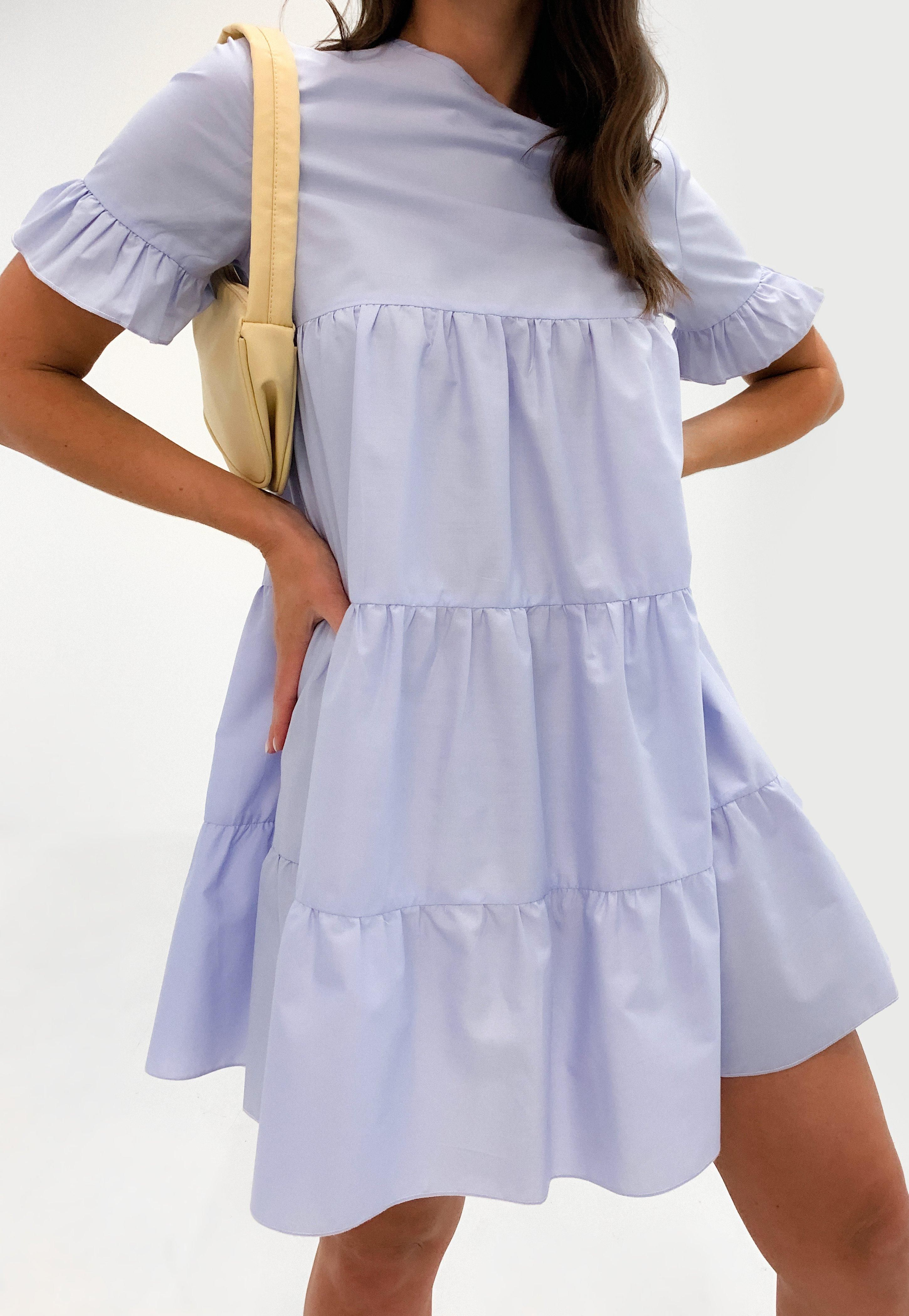 Missguided Lilac Frill Sleeve Smock Dress Smock Dress Dresses Clothes For Women [ 4200 x 2900 Pixel ]