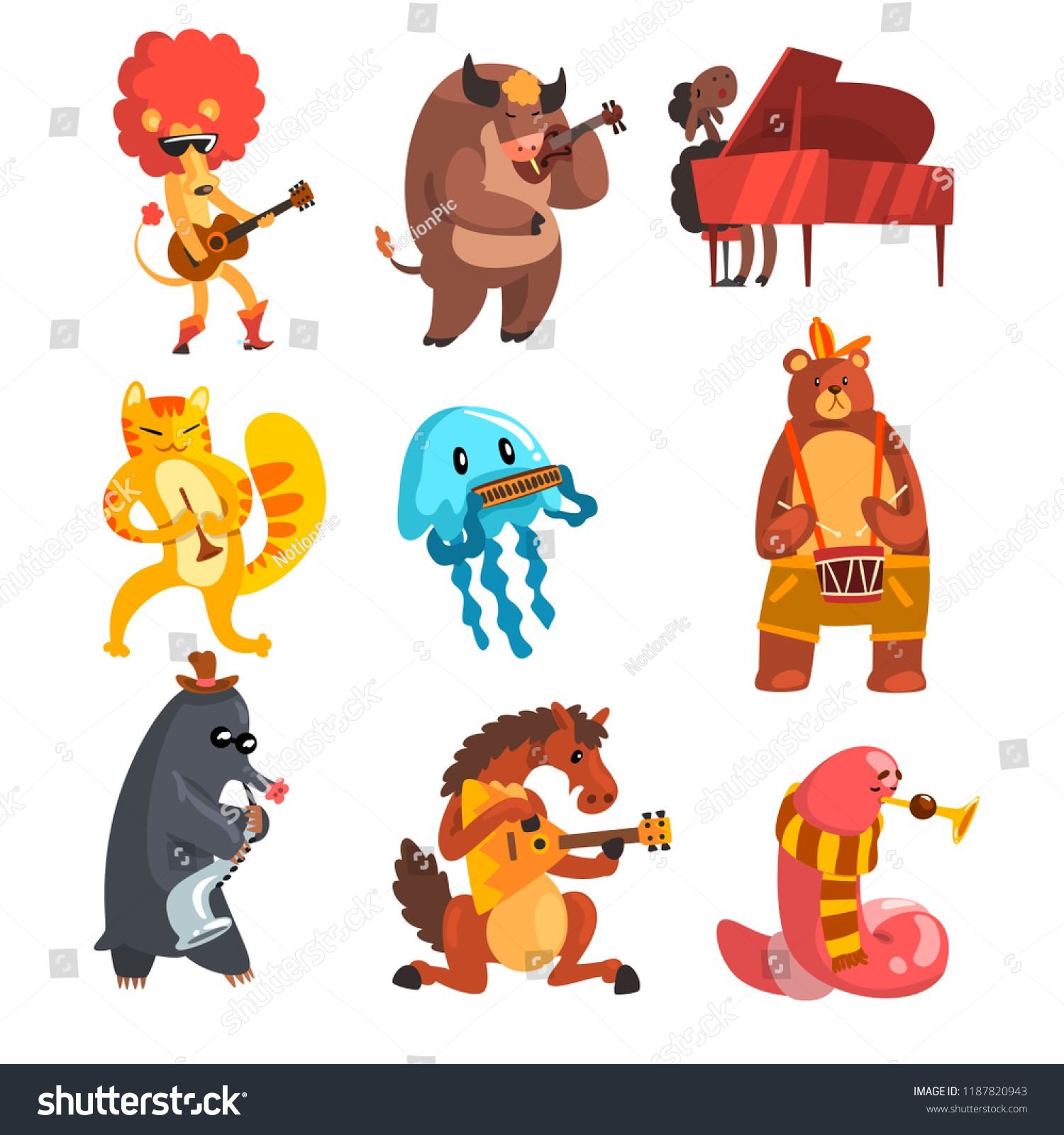 Animals Playing Musical Instruments Set Lion Cow Sheep Jellyfish Cat Mole Horse Earthworm Bear Musical Instrument Set Music Illustration Music Cartoon