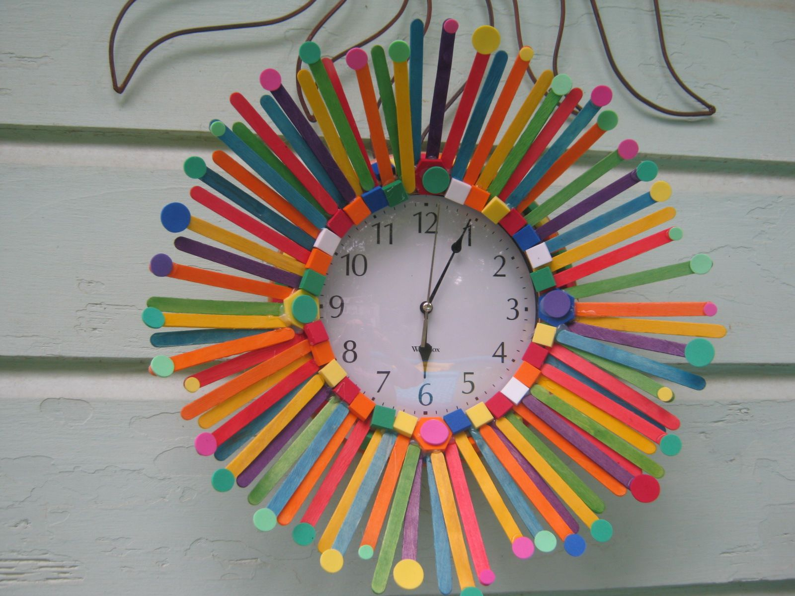 Simple Wall Clock Colored Popsicle Sticks Foam Circles