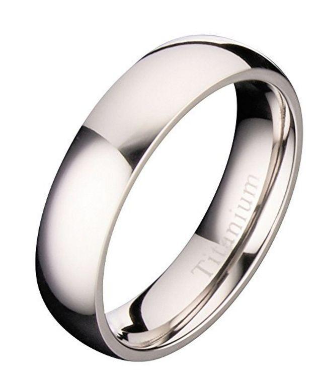 5MM Polished Comfort Fit Titanium Wedding Ring Band [2mm, 3mm, 4mm, 5mm, 6mm, 8mm]