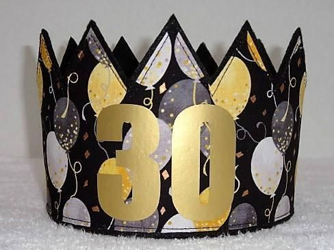 30th Birthday Crown Gold Party Hat Adult Crowns
