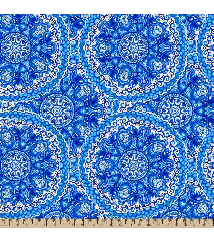 Anti pill fleece fabricwedgewood medallion blue products