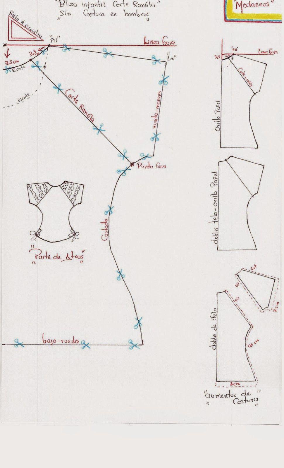 blusa infantil con manga ranglan y tiras fruncidas | Patrones ...