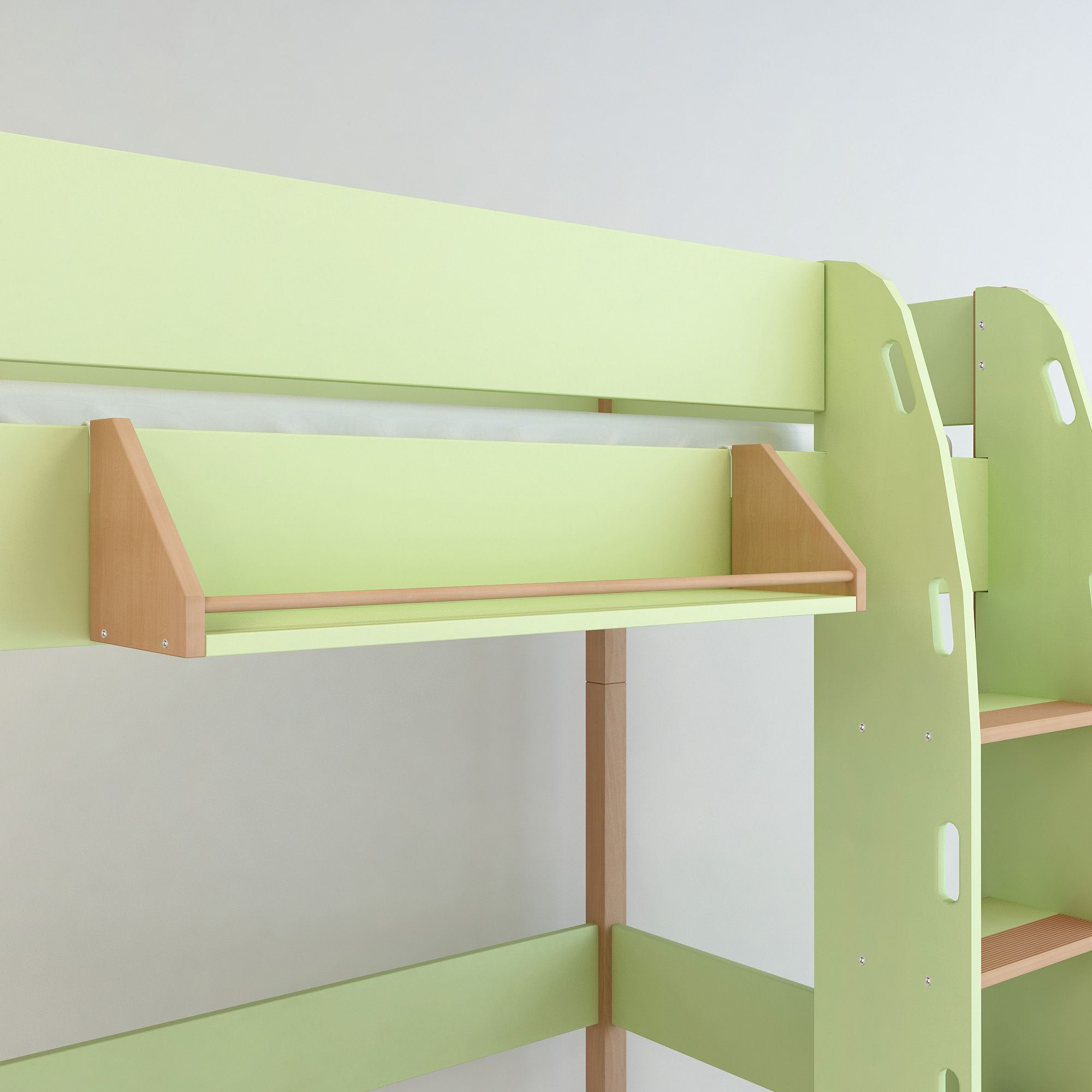 Einhängeregal Bett Ablageregal Regal Hochbett Etagenbett Bettzubehör Buche grün