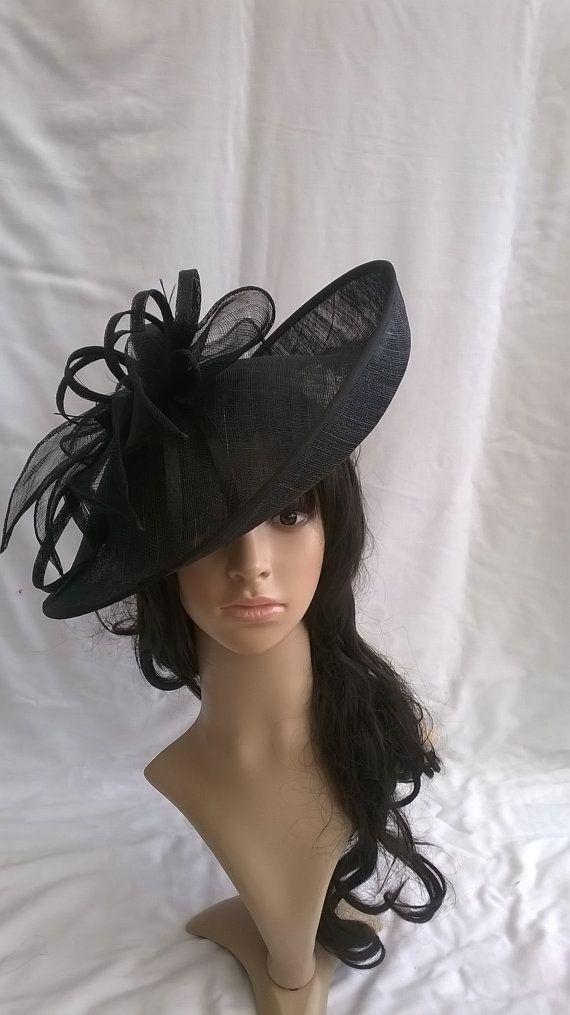 Beautiful Turned up brim Sinamay   Feather Hatinator on a Headband ... 44441e5cf8c