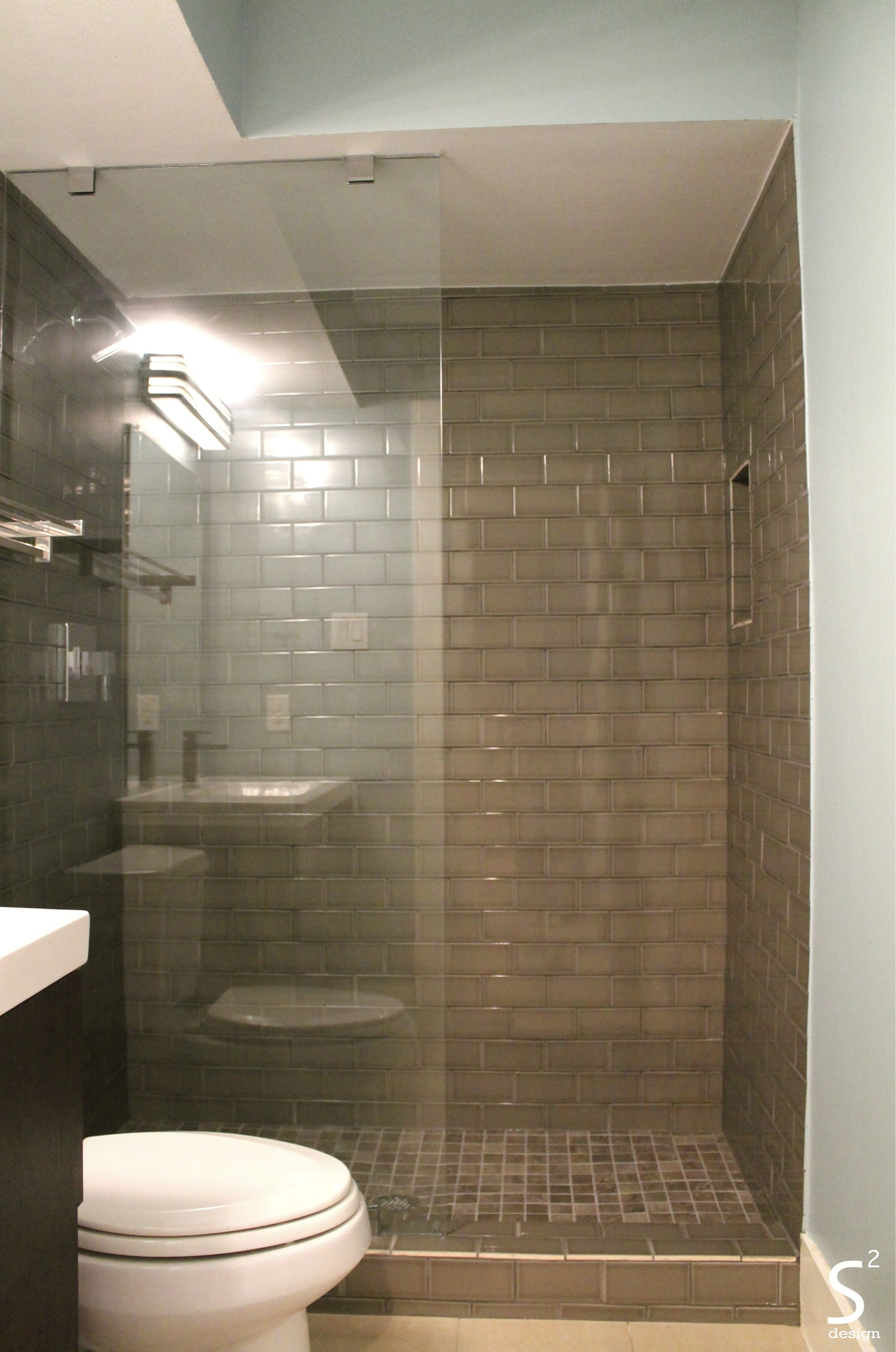 Modern Bathroom Grey Subway Tile Glass Wall Dark Vanity Blue Walls Houston  Heights S Squared Design