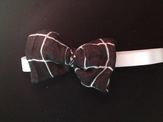 Black bow with White striping by BowtiqueDeBelle on Etsy