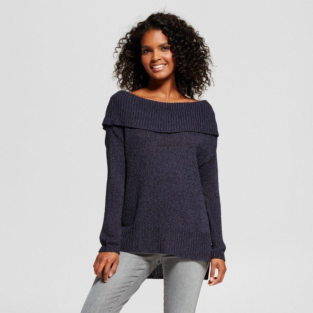 Women's Off the Shoulder Pullover Sweater - nitrogen Navy XS, Blue ...