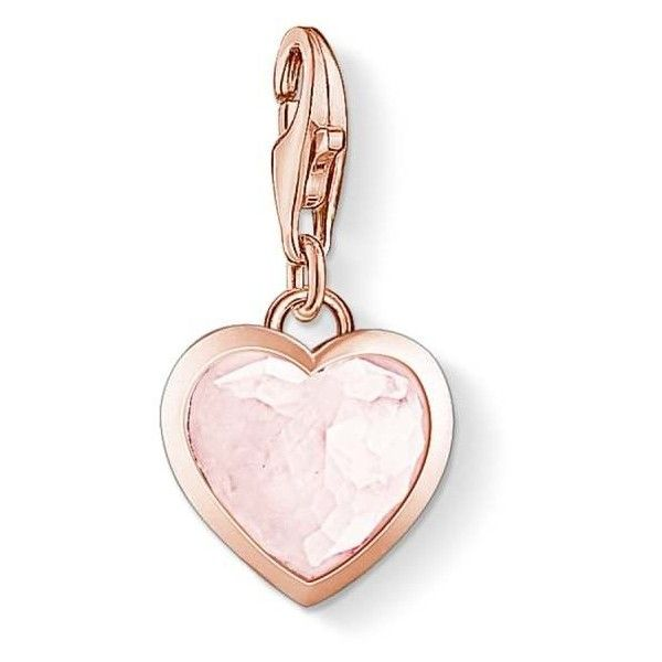 Thomas Sabo Sterling Silver Rose Gold Pink Milky Heart Charm