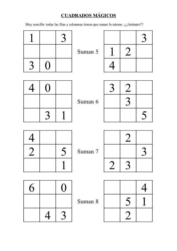Cuadrados M 225 Gicos 1 Prvn 237 Tř 237 Da Math Exercises Math