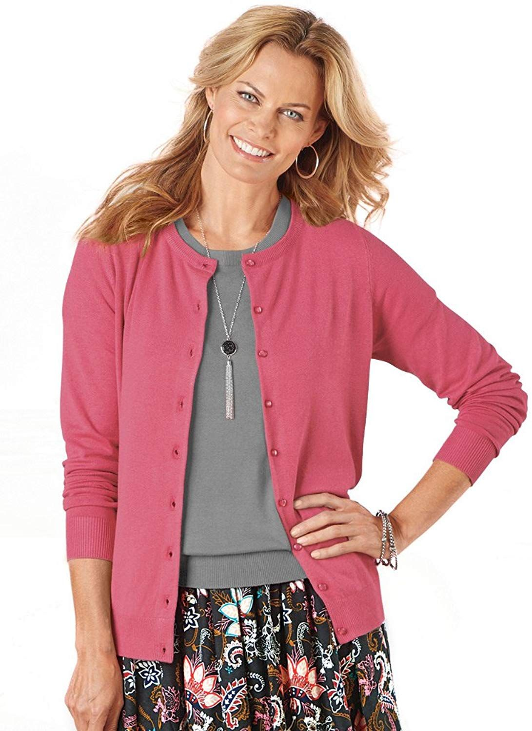 AmeriMark Classic Style Cardigan Button Down Long Sleeve and Fine Gauge Knit