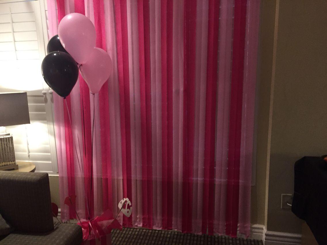 Victorias Secret or pink theme bachelorette party decor