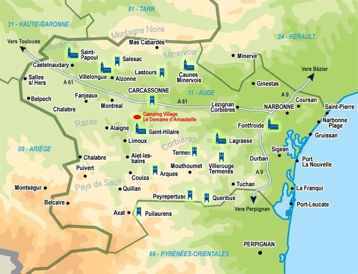 Carte Aude Languedoc Roussillon Camping Carcassonne