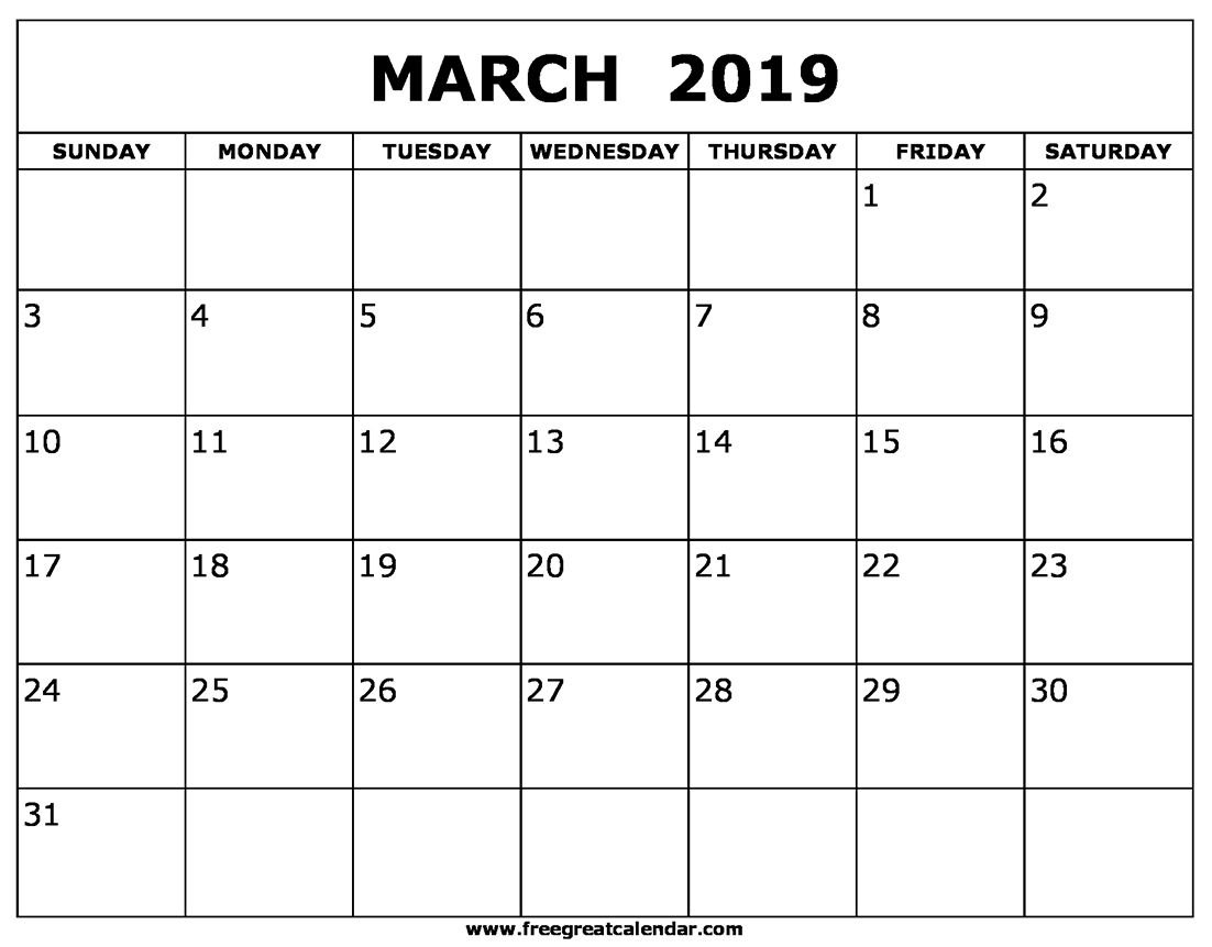 March 2019 Calendar Page Calendar March Blank Calendar Monthly