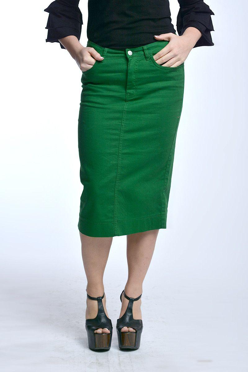 709d1dcd7 Kelly Green Colored Denim Skirt | Colored Denim Skirts | Green skirt ...