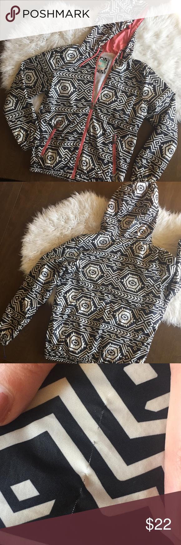 Sale Pull Bear Tribal Aztek Wind Breaker Jacket Black And White Aztec Print Windbreaker Jacket With Coral Zip Acce Bear Jacket Windbreaker Jacket Windbreaker