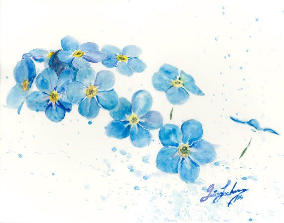 'Forget-me-nots #2' watercolor print. flower painting by ...