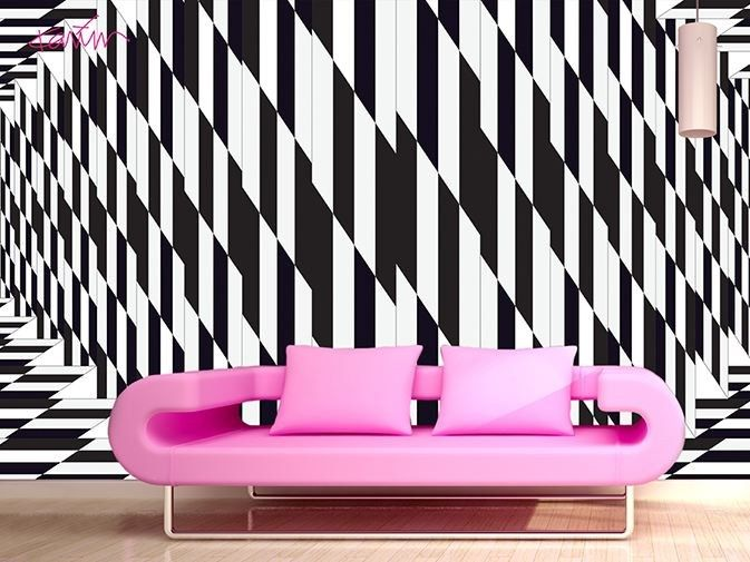 optical wall paper looks great behind a sofa - Embellish your home ...