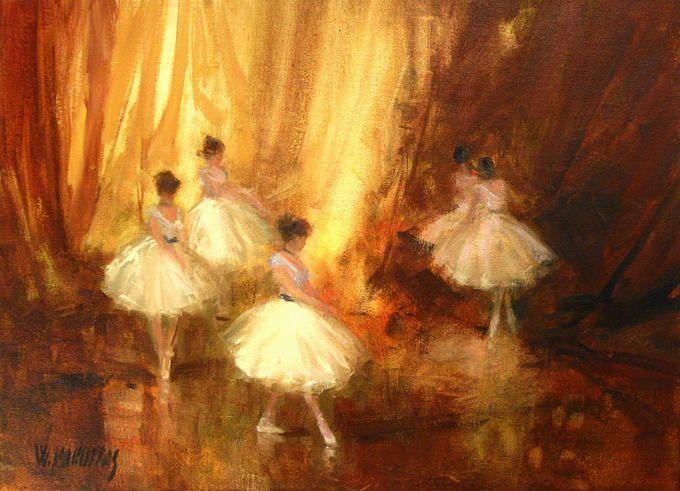 ballerinas - dancers by Washington Maguetas (oil on canvas)
