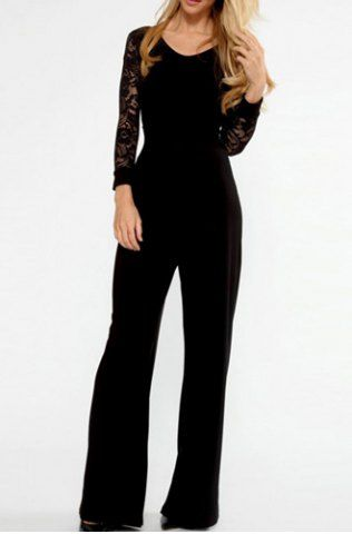 8583500ff31 Stylish V-Neck Long Sleeve Lace Splicing Backless Jumpsuit For Women ...