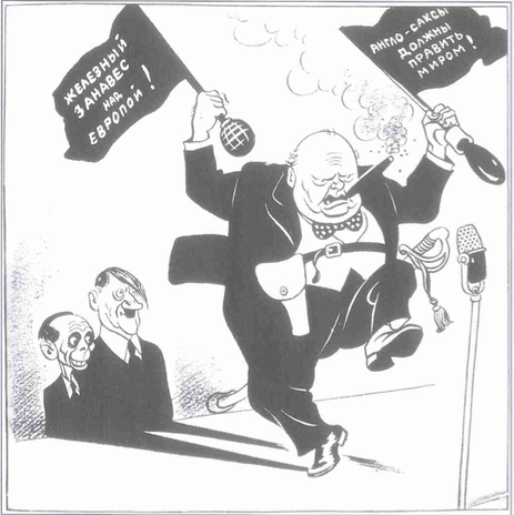 A Soviet Cartoon. Churchill Is Shown With Two Flags, The First Proclaiming  That U0027