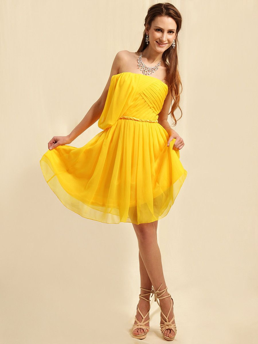 Draped chiffon knee length bridesmaid dress 임뿌레쒸부 pinterest