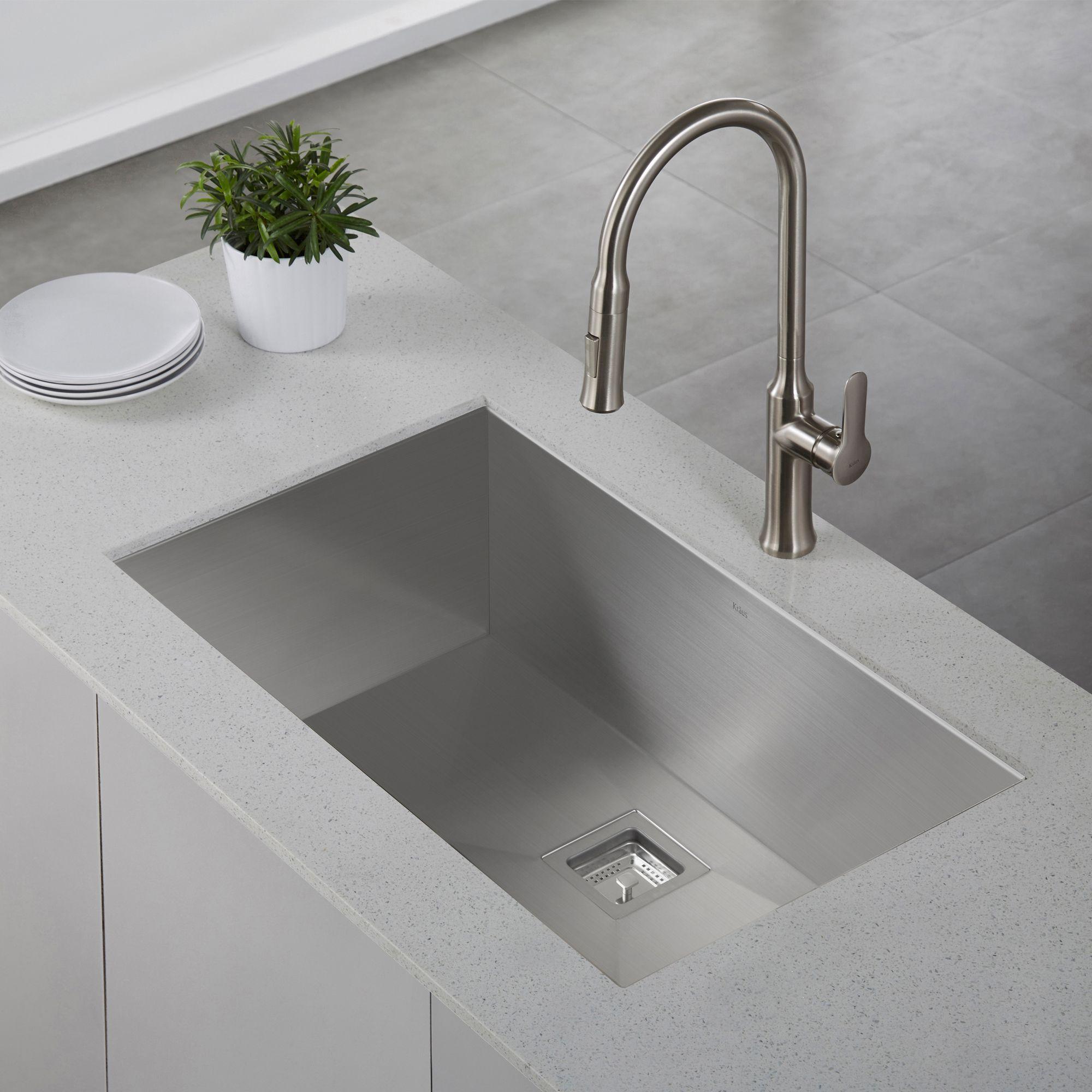 Kraus Khu32 Pax Undermount 31 1 2 Inch Stainless Steel Kitchen Sink Steel Kitchen Sink Sink Single Bowl Kitchen Sink