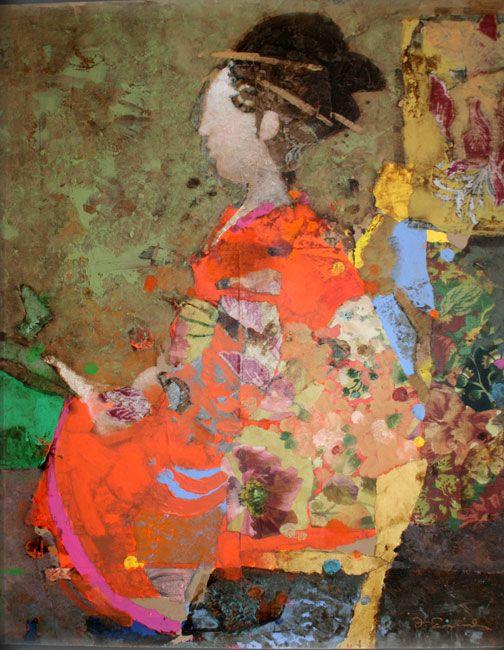 """Geisha in Red"", artist: ""Mark English"", width: ""18"", height: ""22"", depth: materials: ""Mixed Media""}"