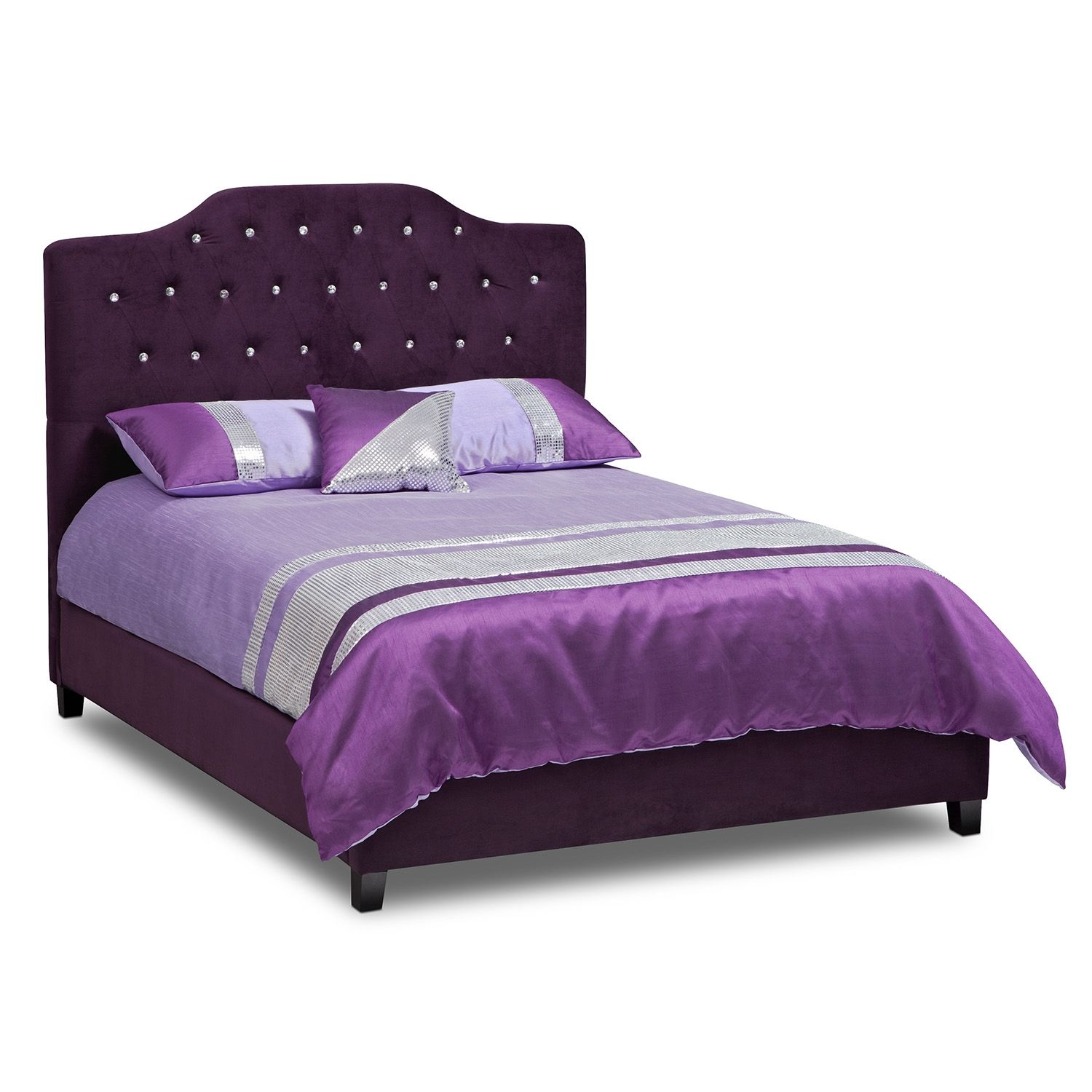 Bedroom furniture valerie ii queen bed glam time for Furniture and beds