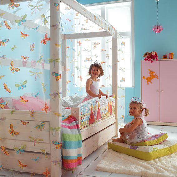 Cama de madera con dosel para ni a cuarto nena - Camas infantiles nina ...