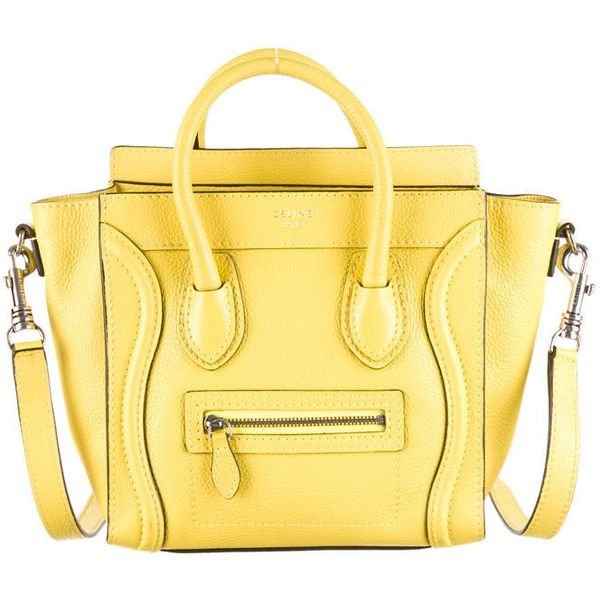 Pre-owned Céline Nano Luggage Tote ($1,795) ❤ liked on Polyvore featuring bags, handbags, tote bags, torbe, yellow, leather purse, celine tote, zip tote bag, genuine leather handbags and leather tote bags