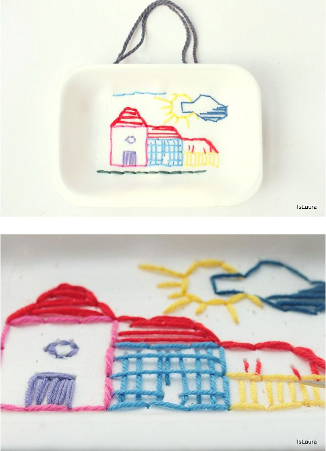 Teaching children to sew - embroidery on recycled styrofoam trays ...