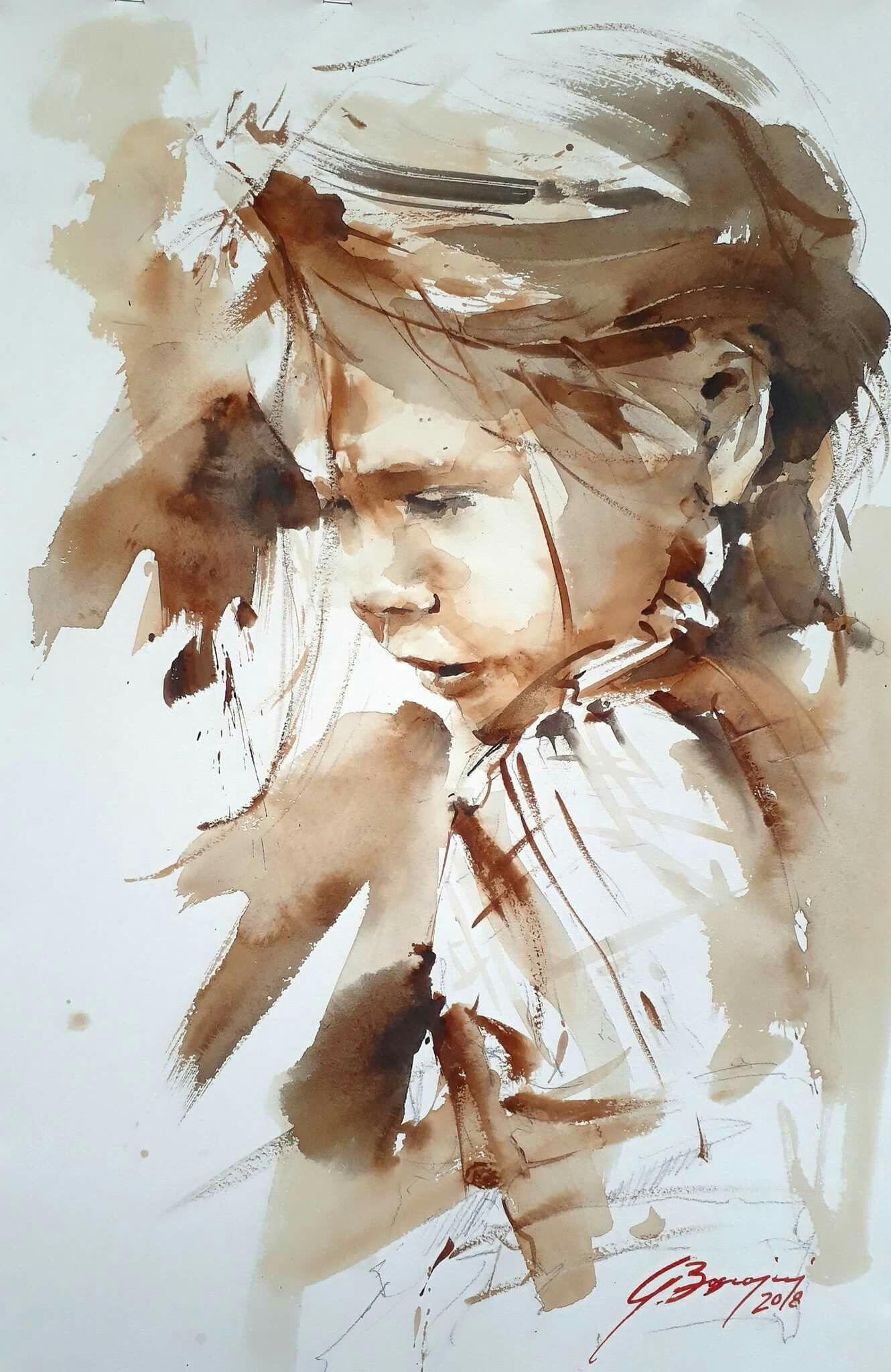 Giulio Boscainj Portrait Peinture Peinture A L Aquarelle Et