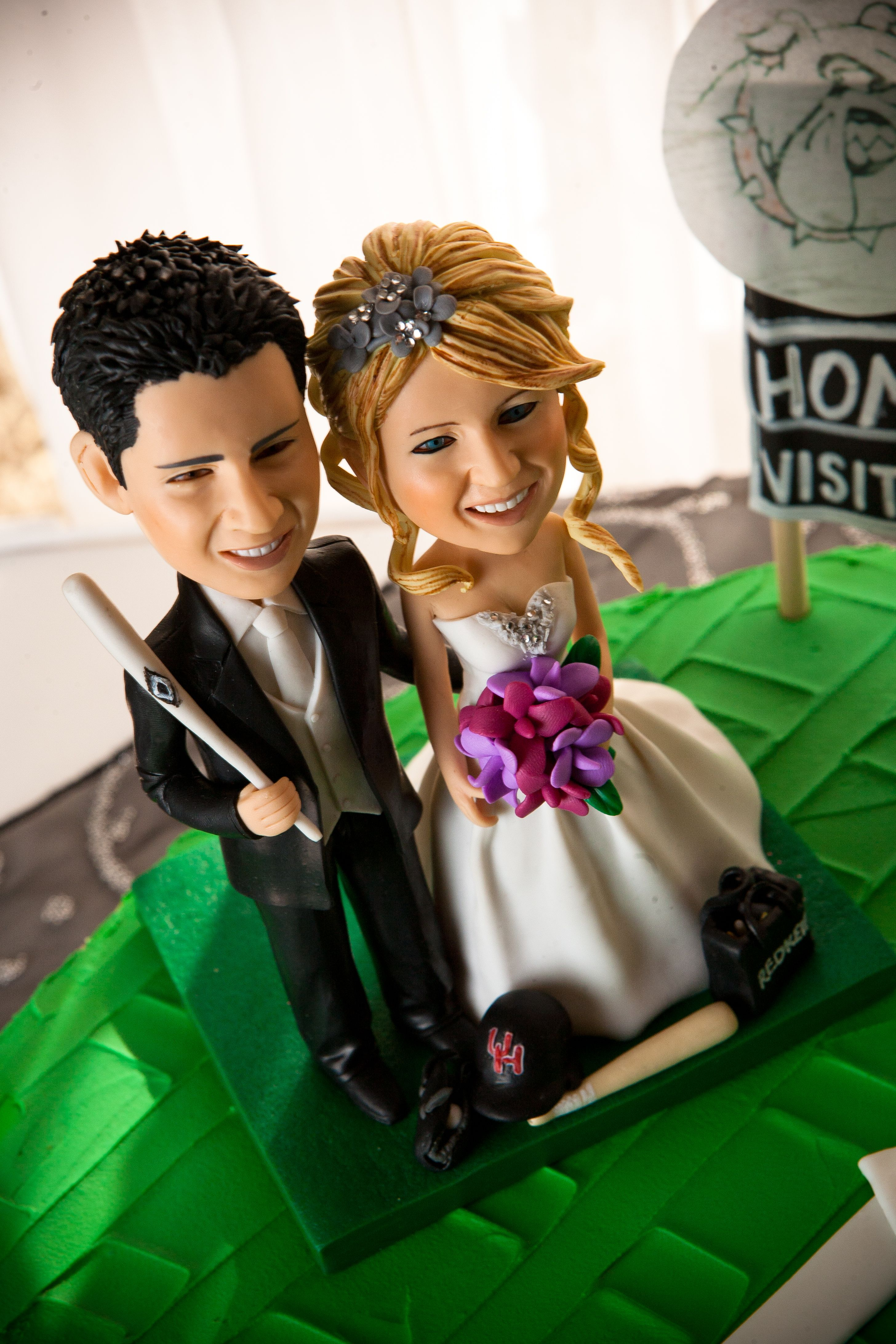 Baseball groom, hairstylist bride (This is EXACTLY me and my husband!!!)