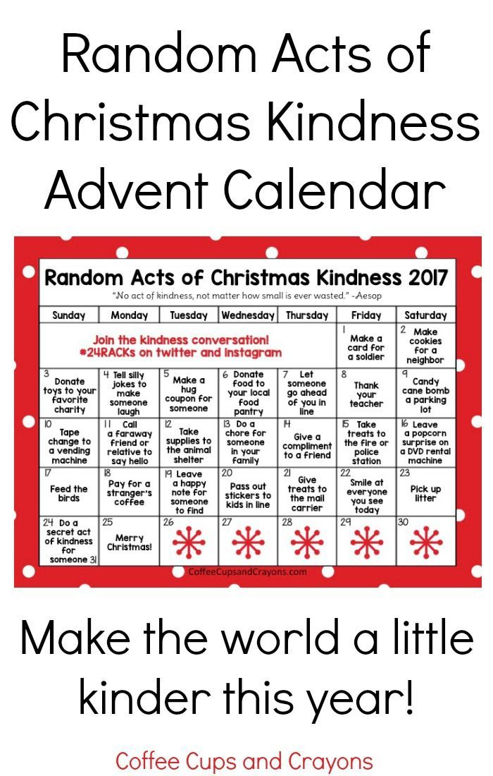 Random Acts of Christmas Kindness Advent Calendar Free printable - confirmation email templatebaby chart