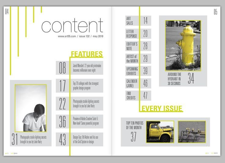 Image result for magazine table of contents design for Table layout design
