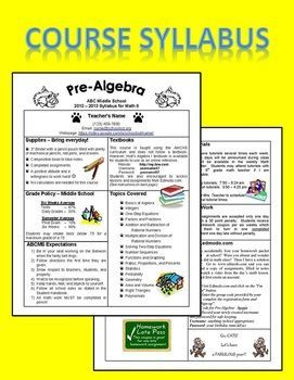 Editable Course Syllabus Template For Interactive Notebook BackTo