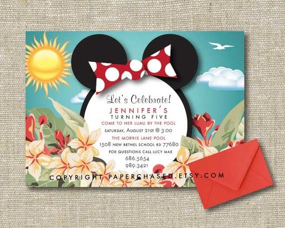 Minnie Mouse Luau Invitation 5x7 PRINT YOURSELF By PaperChased 1800