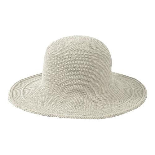 1d5a6626638794 Women's San Diego Hat Company Cotton Crochet Hat Large Brim CHL5 - Stone  Hats