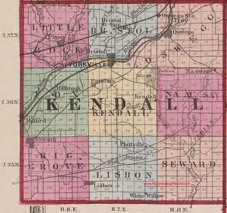 Kendall County Illinois 1870 Map Oswego Kendall County Genealogy Map Illinois