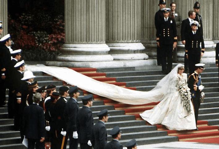 Princess Diana's dress had a 25-foot train.What Happened to Princess Diana's Wedding Dress After She Died?   Princess diana wedding, Princess diana wedding dress, Diana wedding dress
