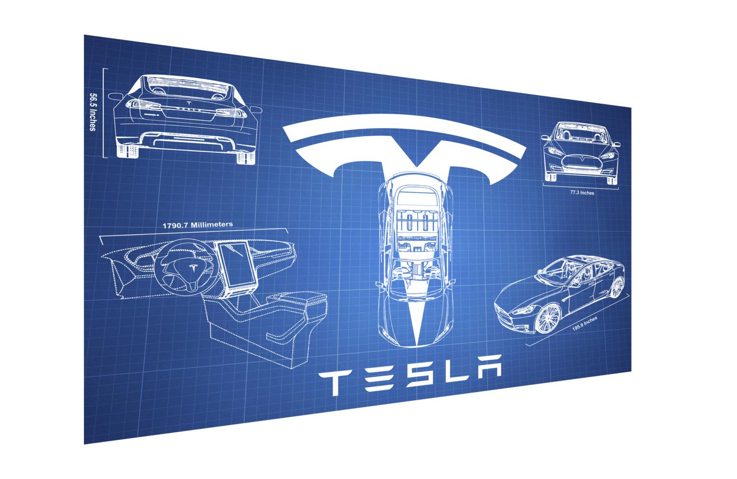 tesla model s blueprint half size 20x13 cars tesla model s blueprint half size 20x13