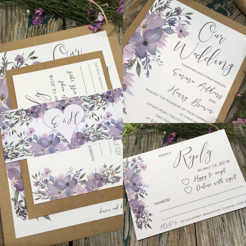 Mauve wedding invitations. Trending 2018 colour palette. Romantic ...
