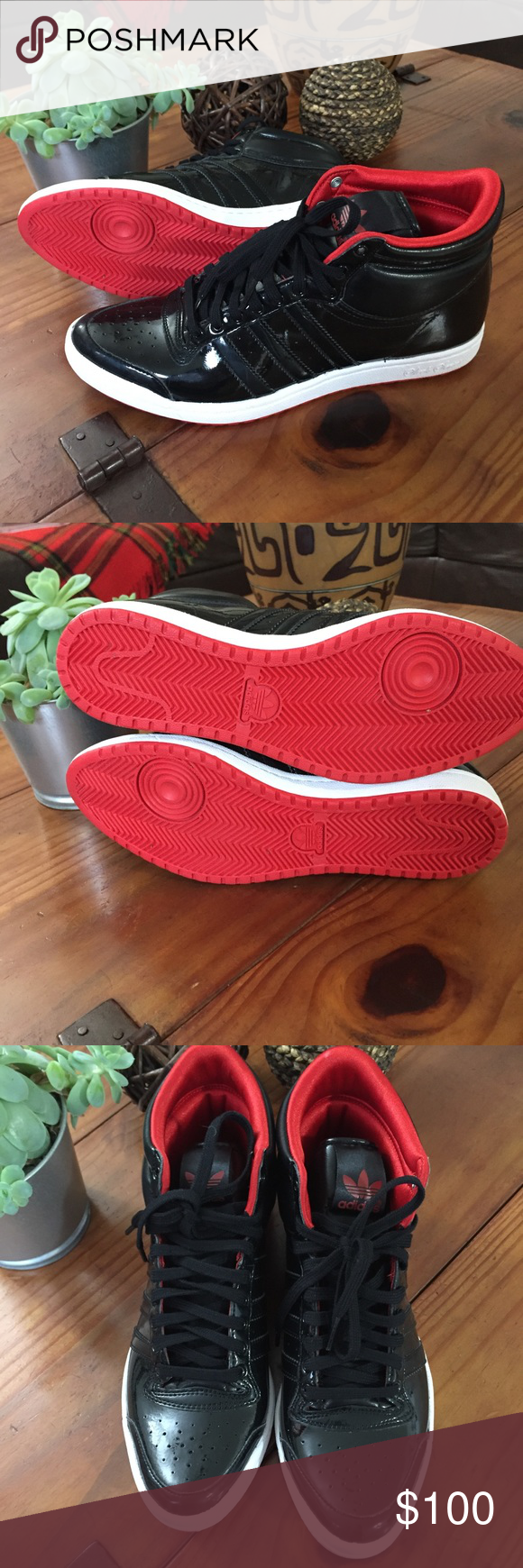 Red Bottom Adidas With Attachable Bow